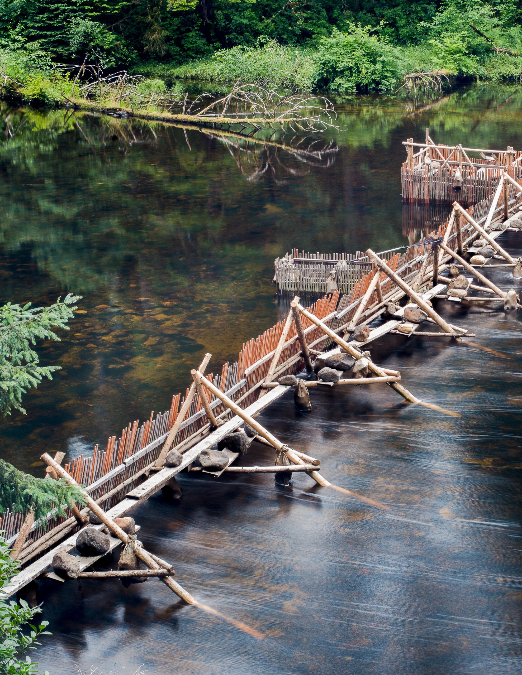 weir spanning across a river