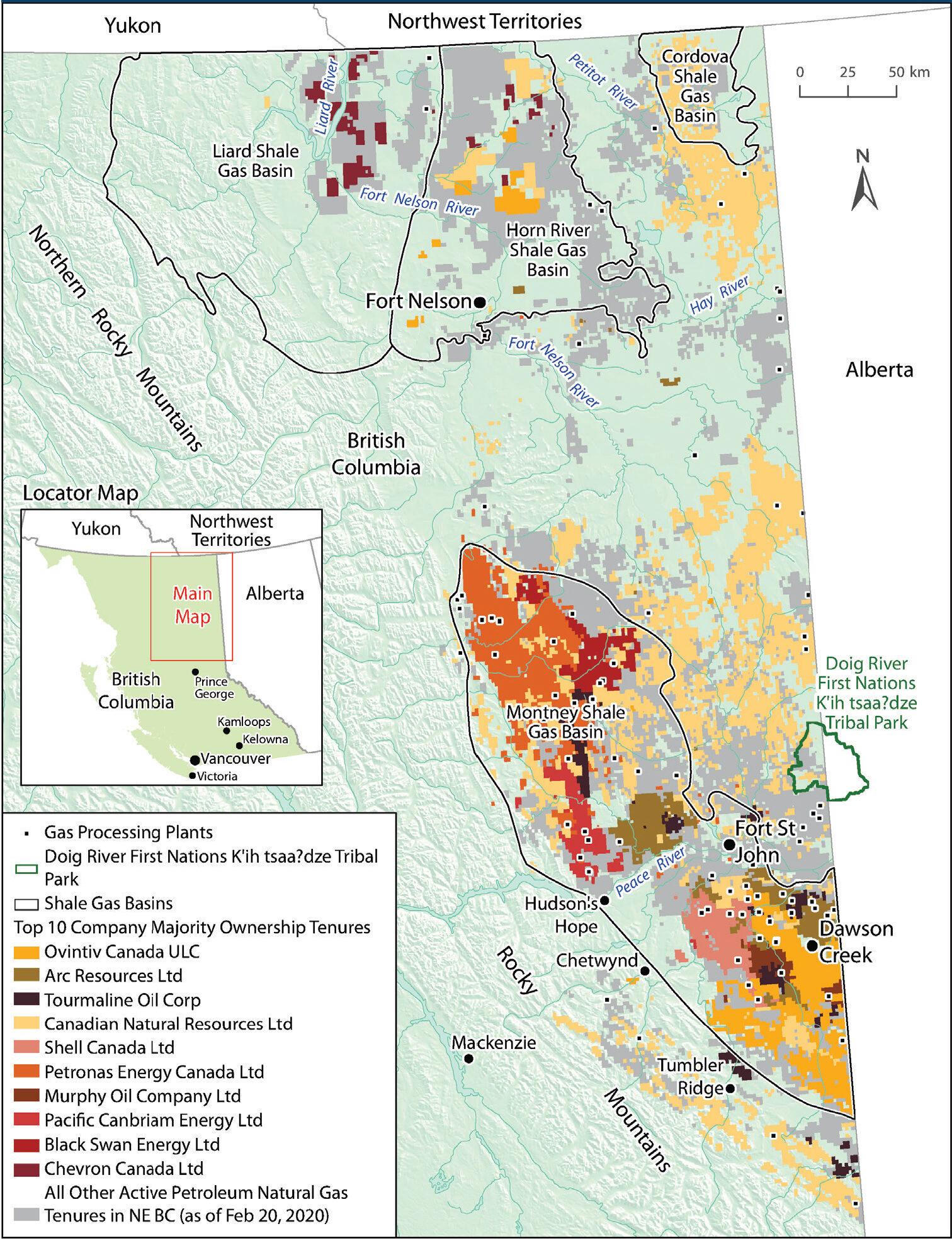 B.C. top 10 fracking companies tenure map