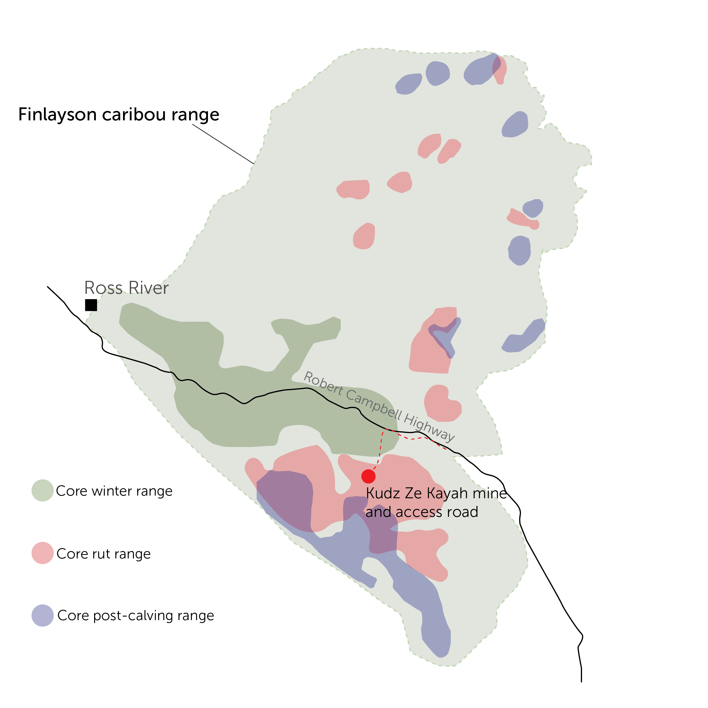 map of the location of the Kudz Ze Kayah mine in the Finlayson caribou herd range