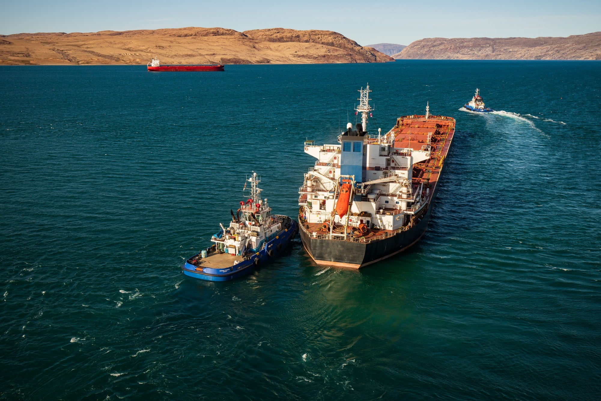 aerial view of ships in port