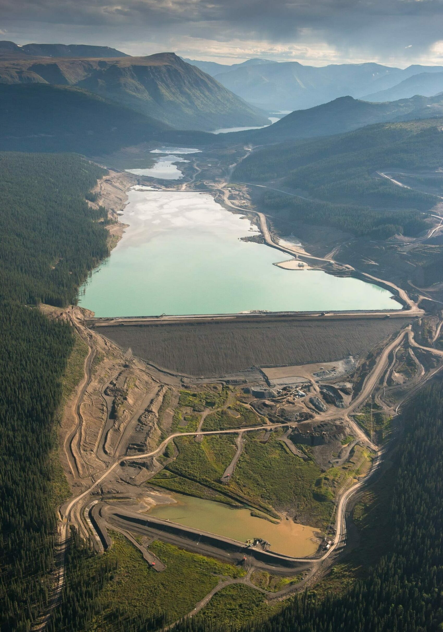 aerial view of tailings pond