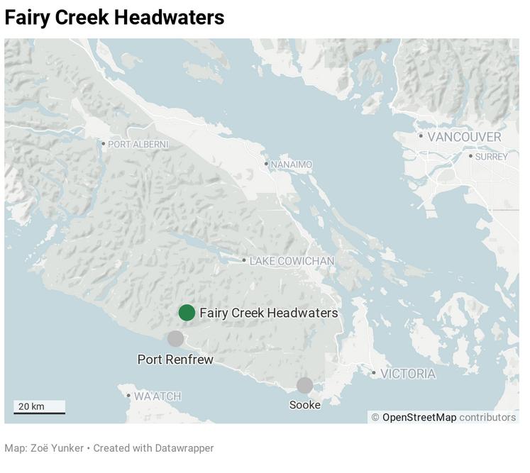 Fairy Creek locator map-By Zoe Yunker