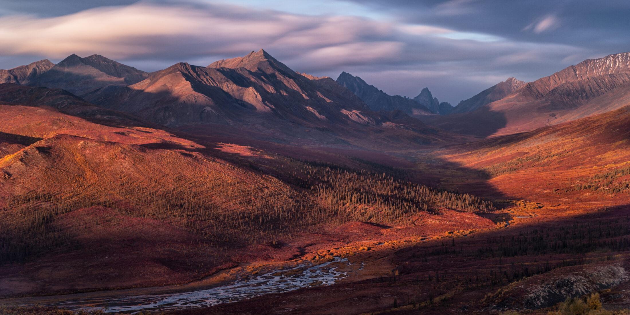 mountain range at sunset