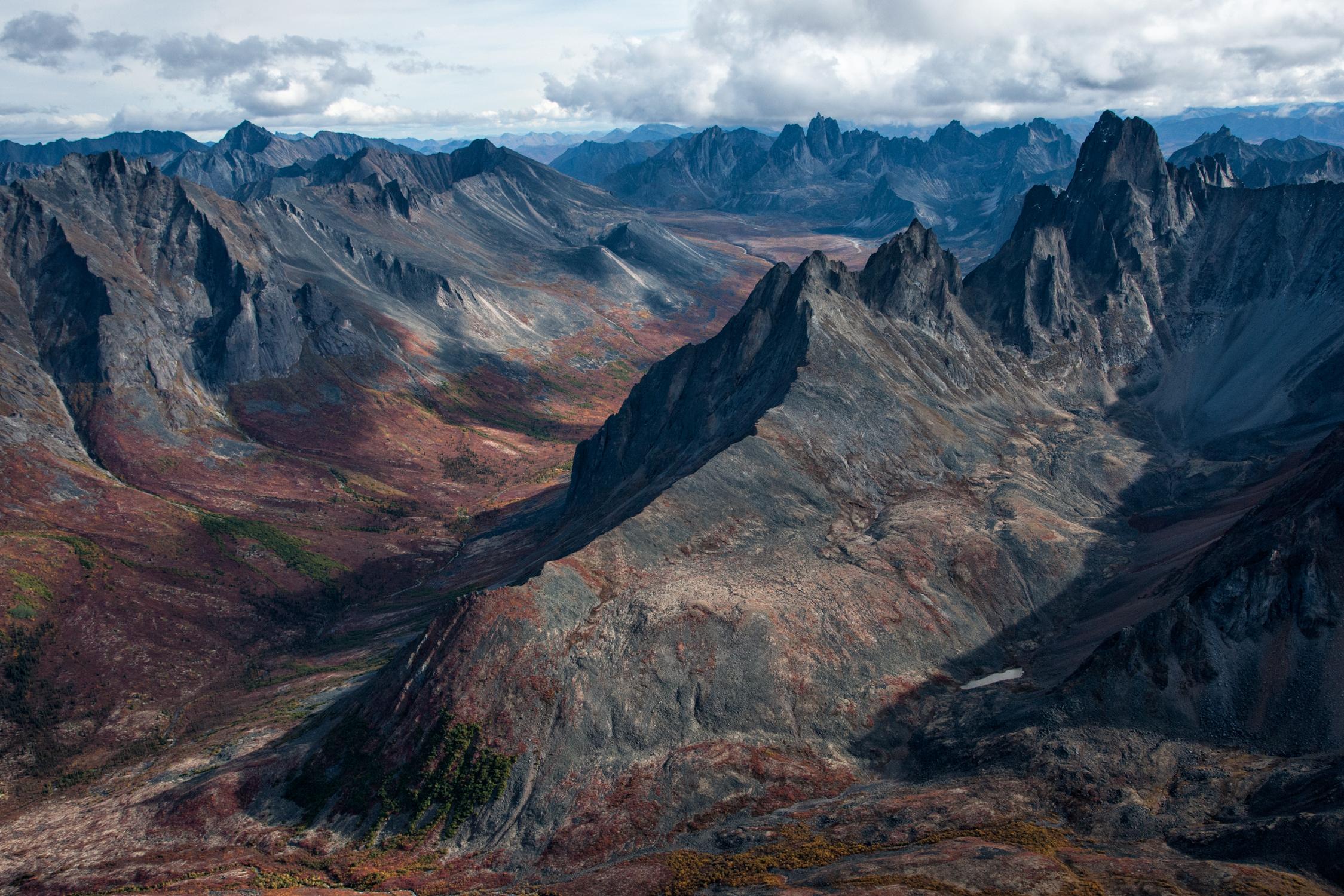 aerial view of Klondike Valley mountain range in Tombstone Territorial park