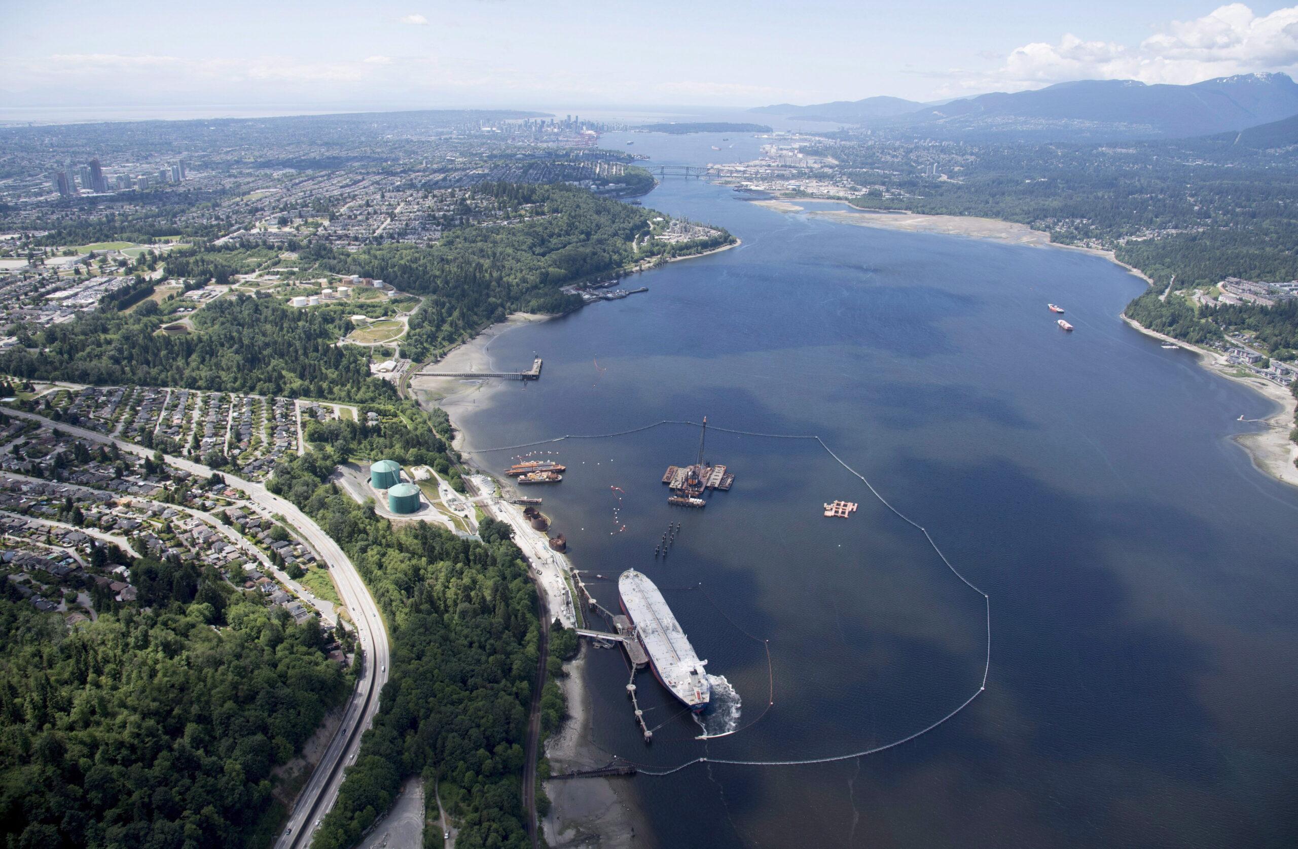 A aerial view of Kinder Morgan's Trans Mountain marine terminal