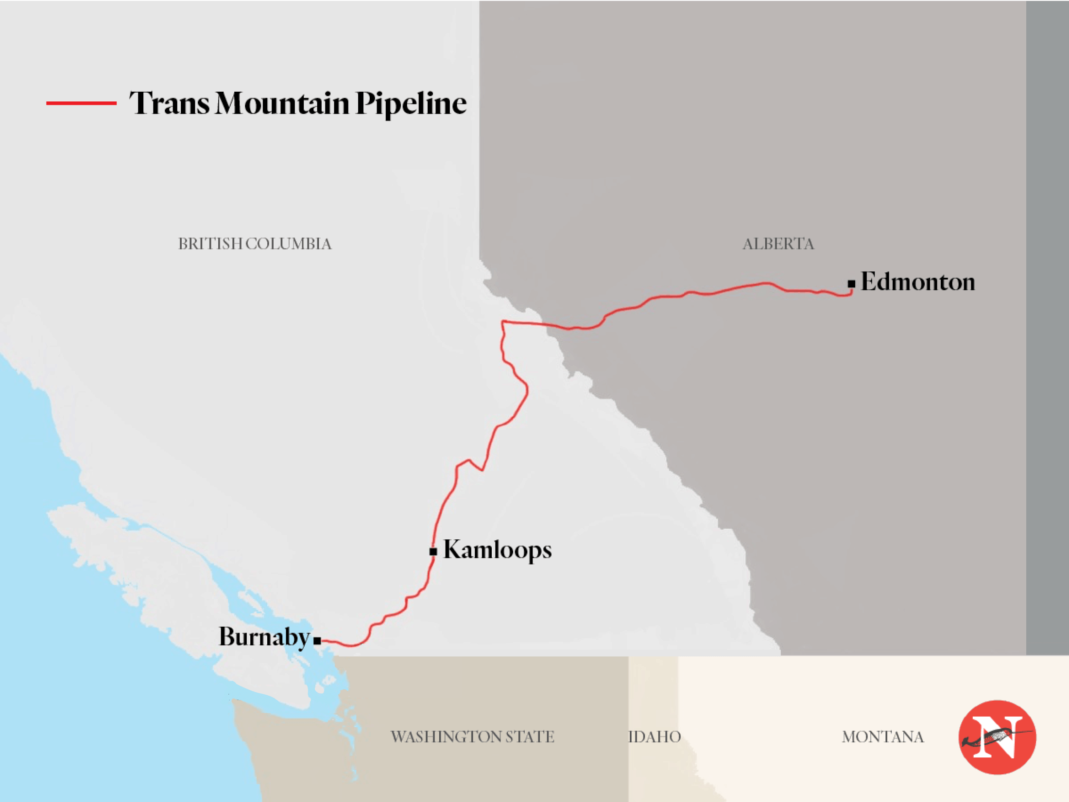 Trans Mountain pipeline route map The Narwhal