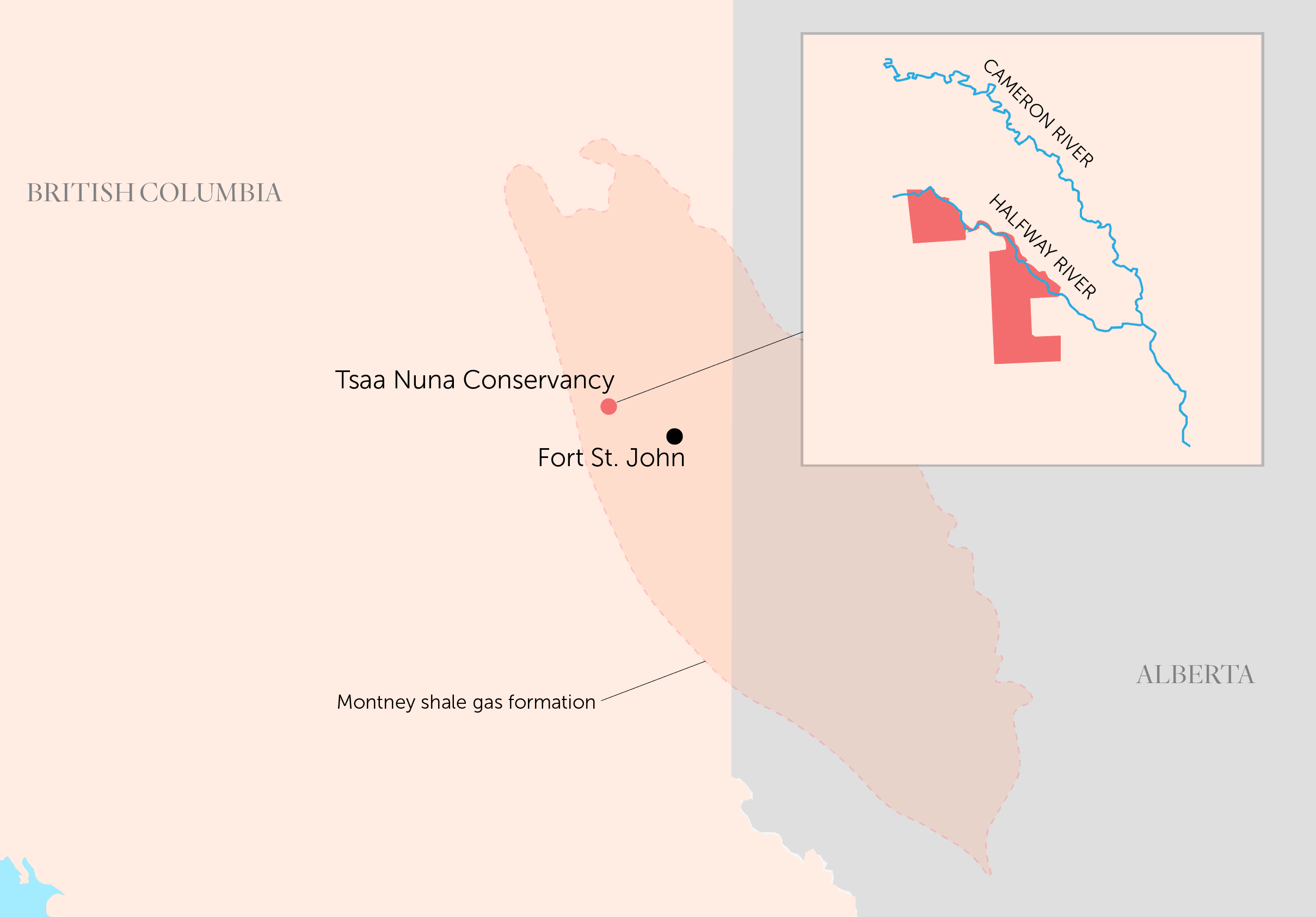 map of B.C. showing Tsaa Nuna Conservancy