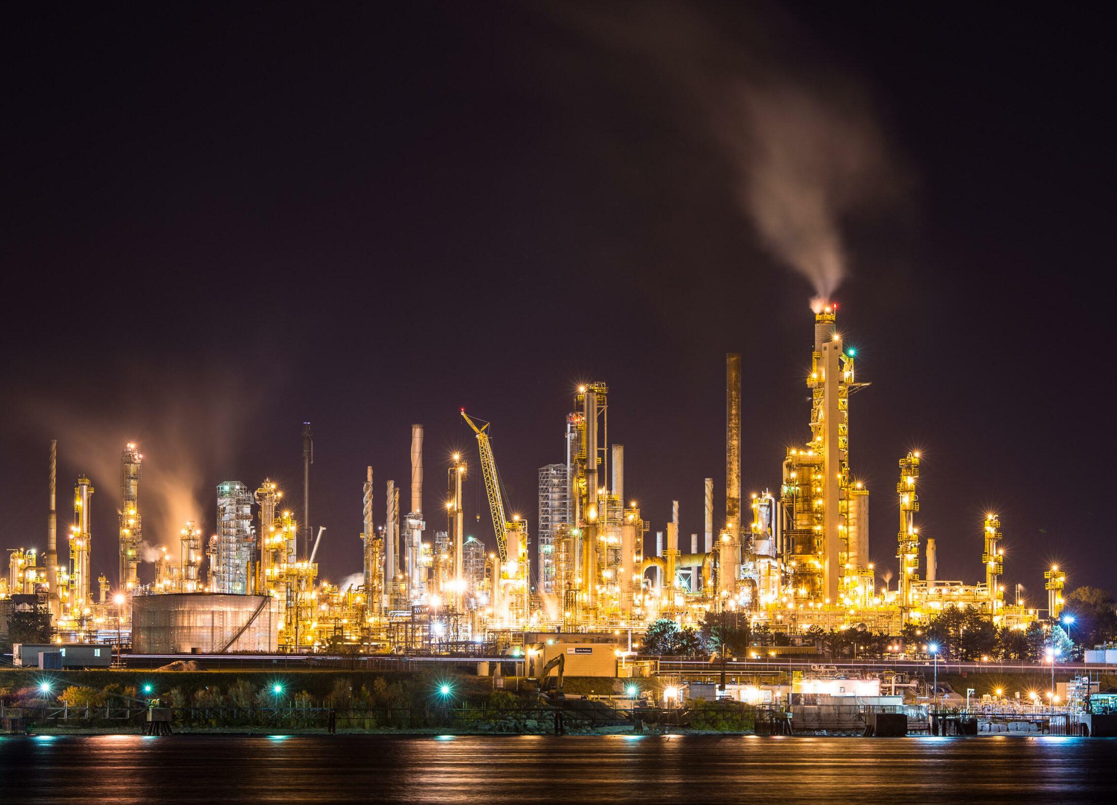 Sarnia, Ontario, refinery at night