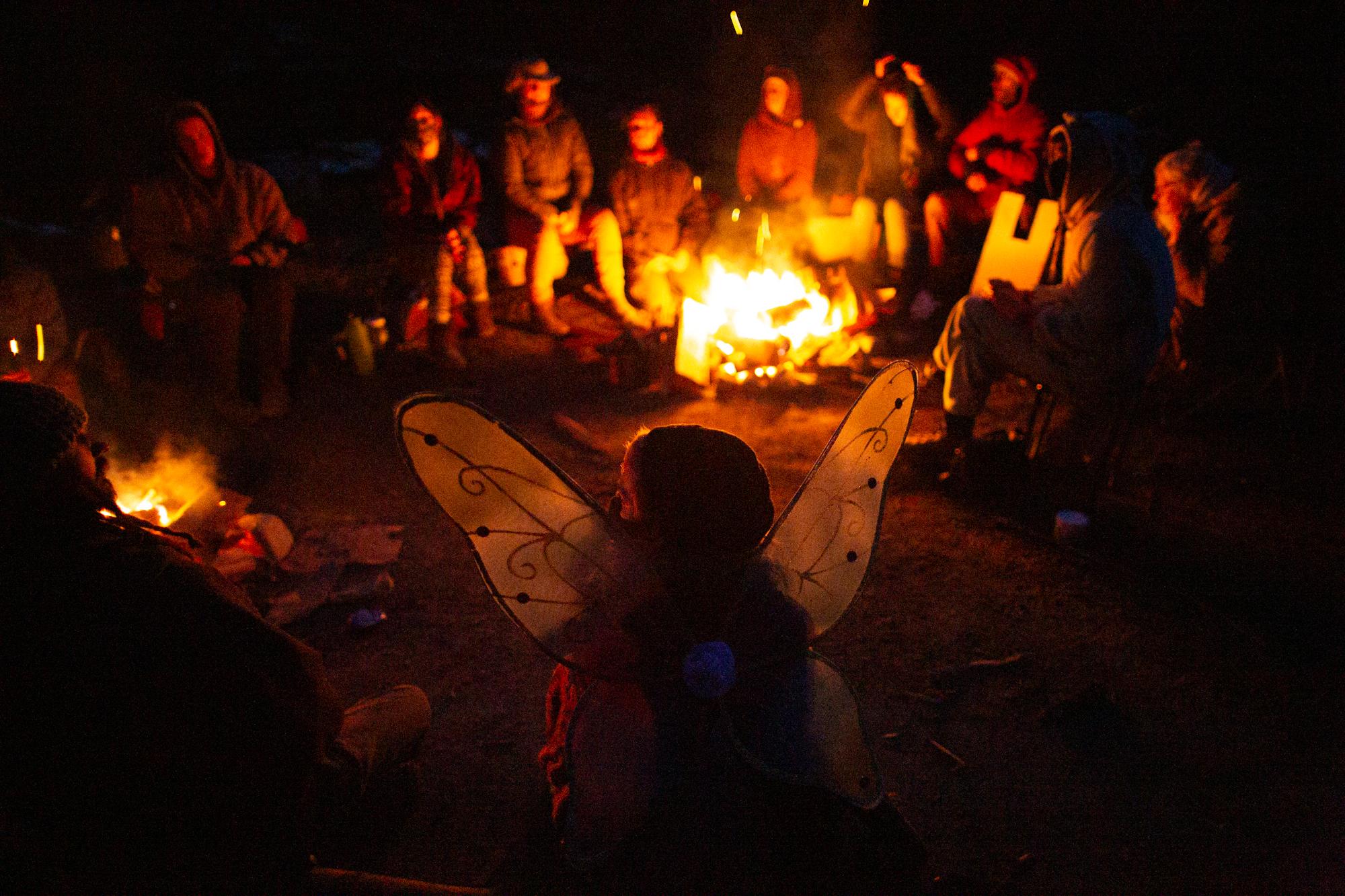 Fairy Creek blockaders sit around a campfire at night