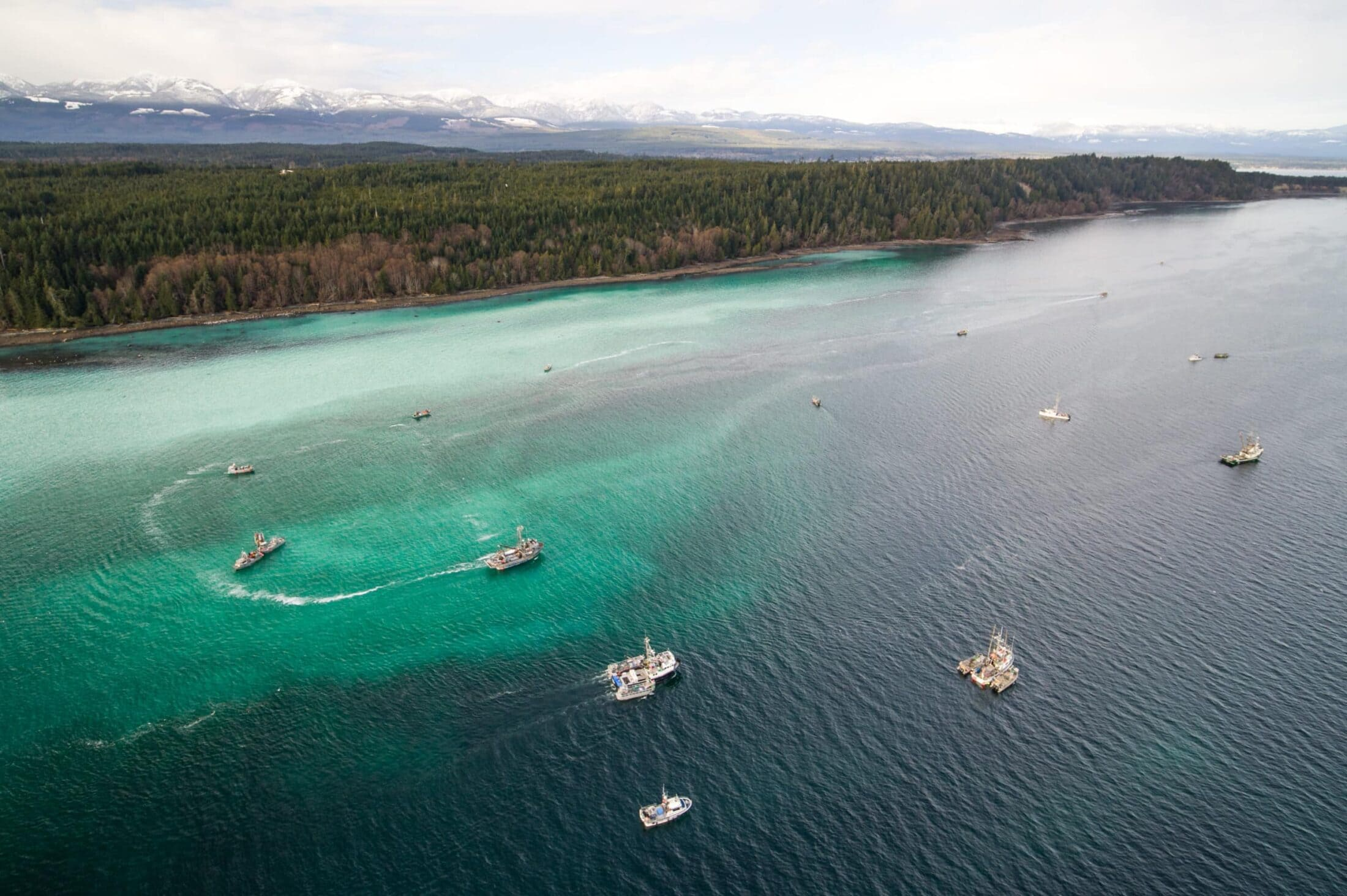 aerial view of net fishing boats