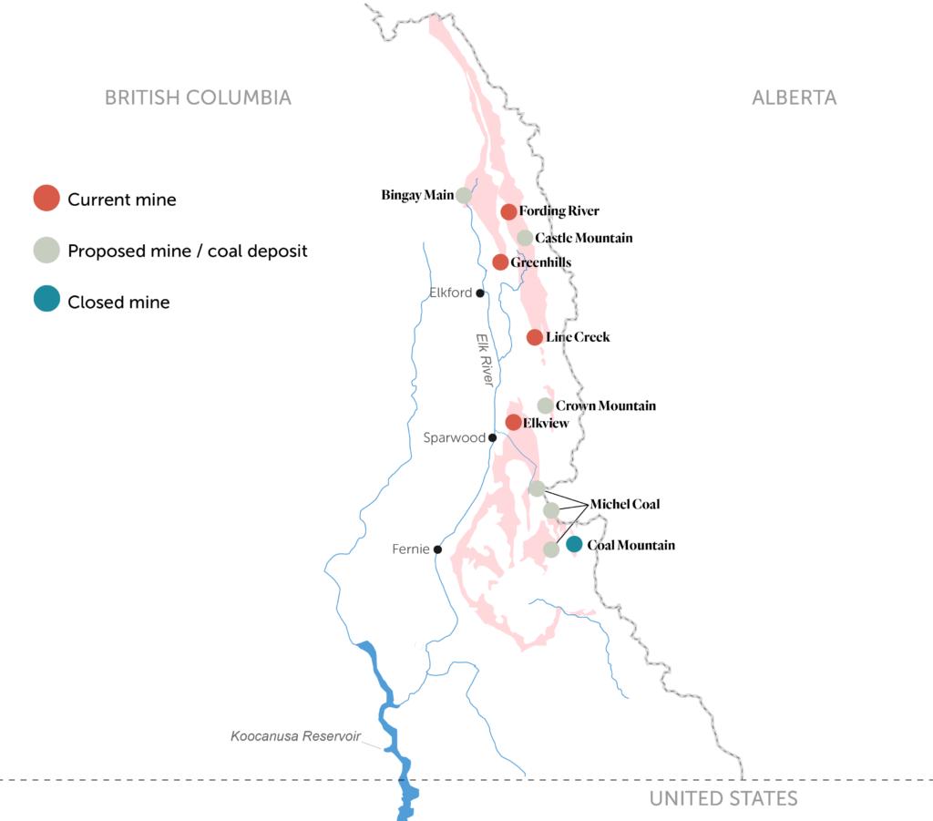 coal mines B.C. Rockiesmap