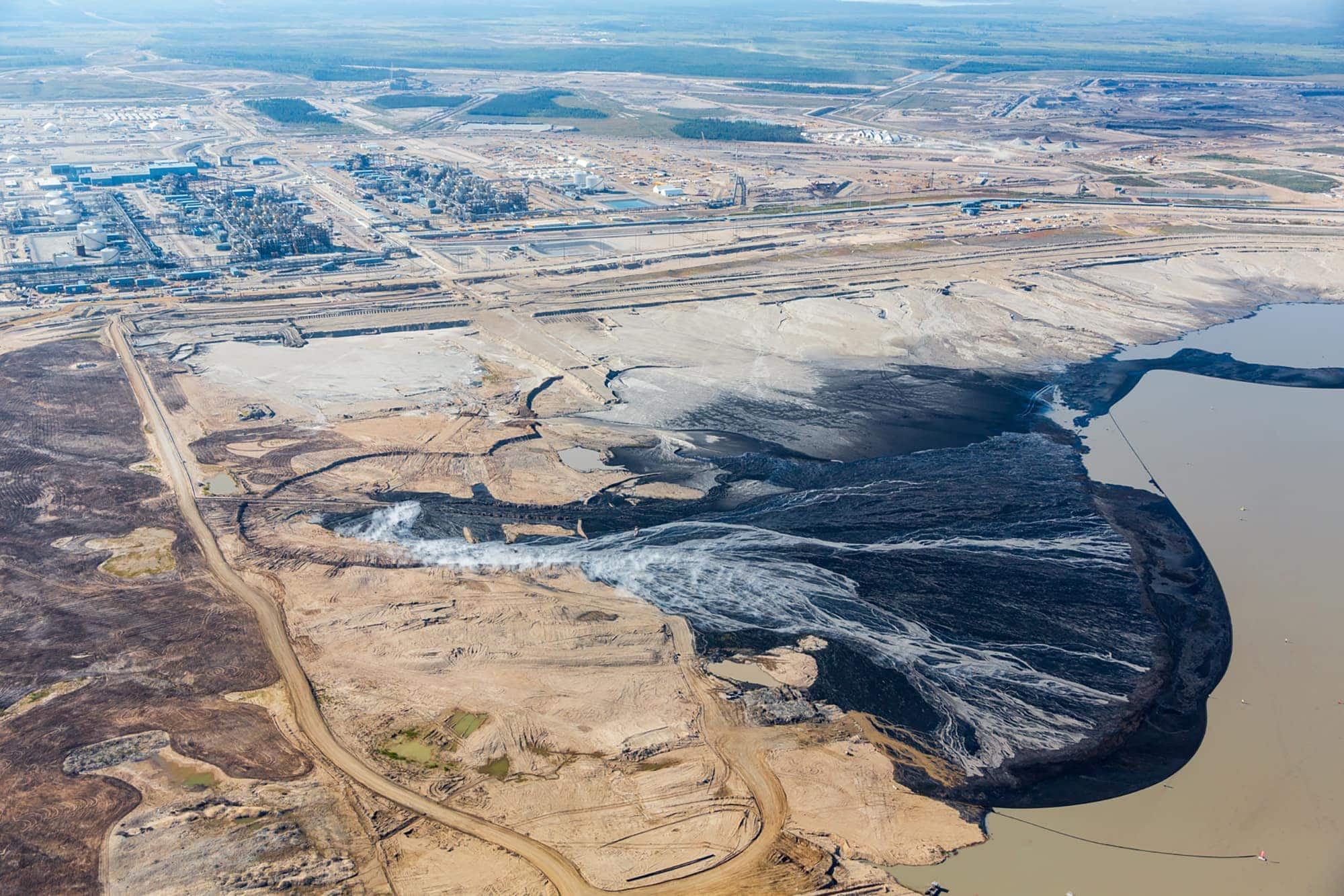 aerial view of oilsands site
