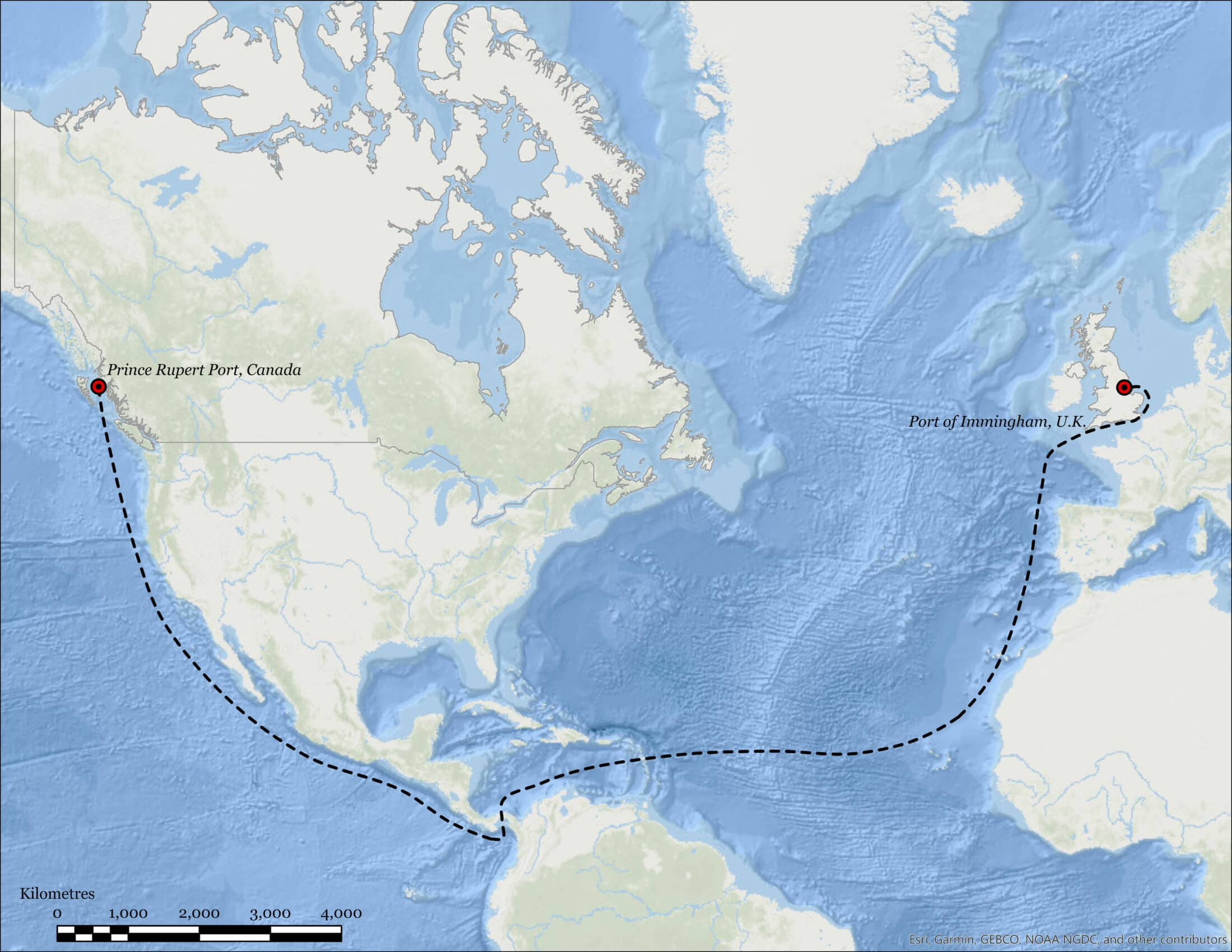 map showing shipping route from B.C. to England
