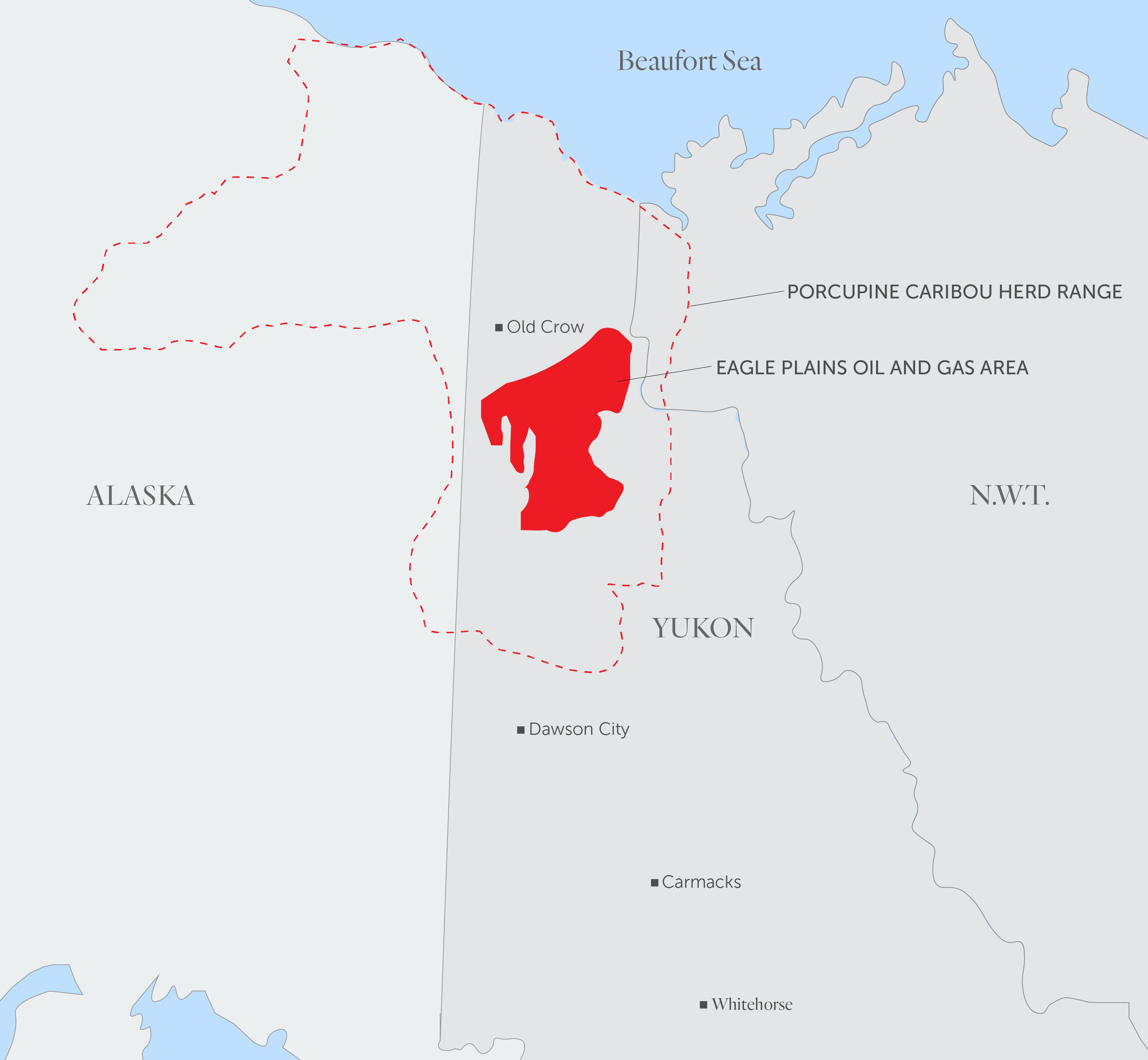 A map showing the location of the Eagle Plains oil and gas area and the range of the Porcupine caribou herd