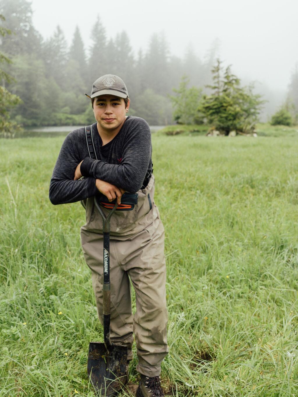 Tynan Jones working on salmon reclaimation site