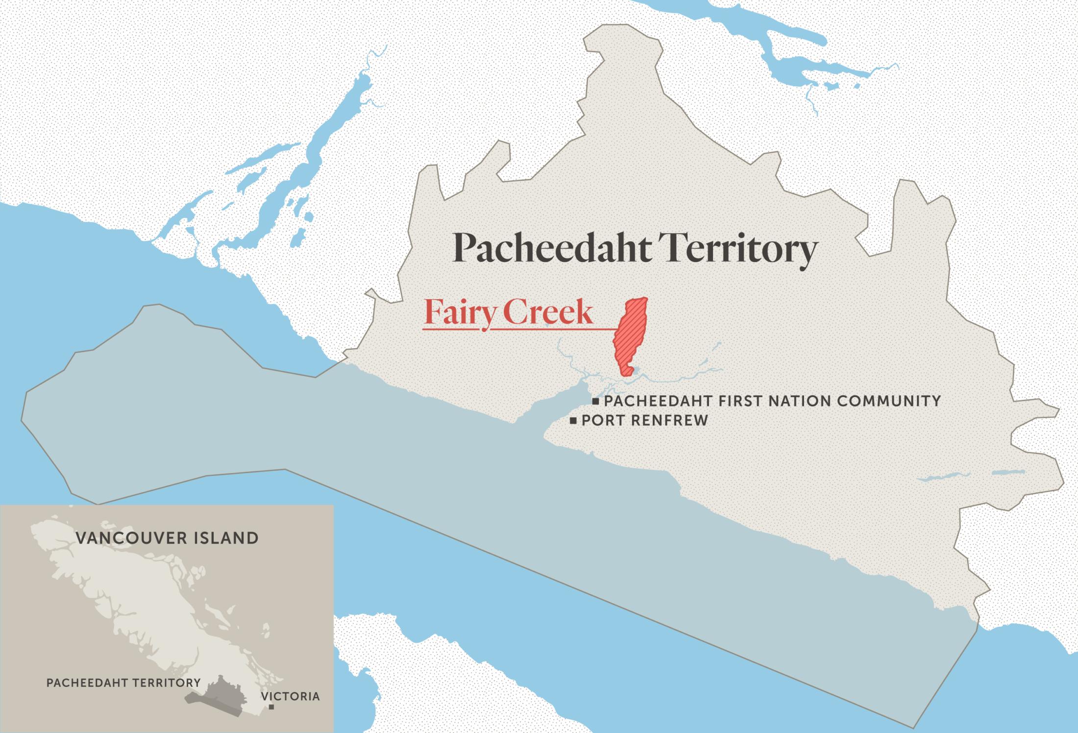 Map of Pacheedaht territory and Fairy Creek