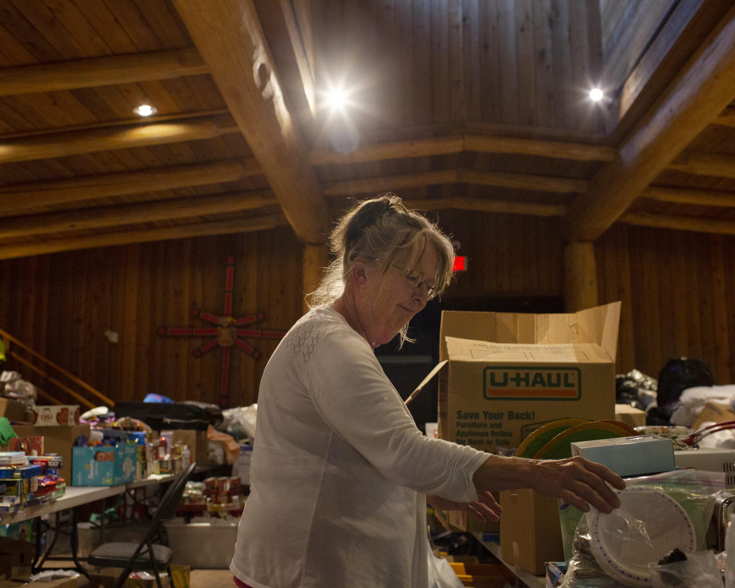 Karen Tillotson organizing donations
