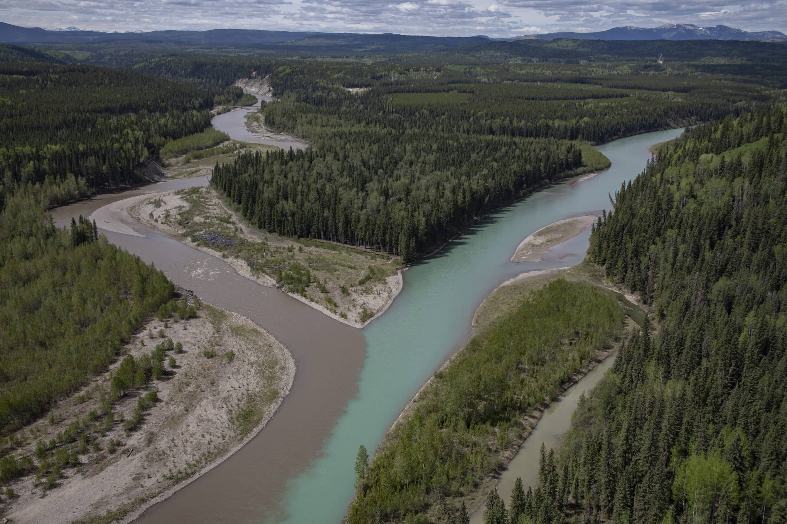 confluence of Ram River and North Saskatchewan river Clearwater County