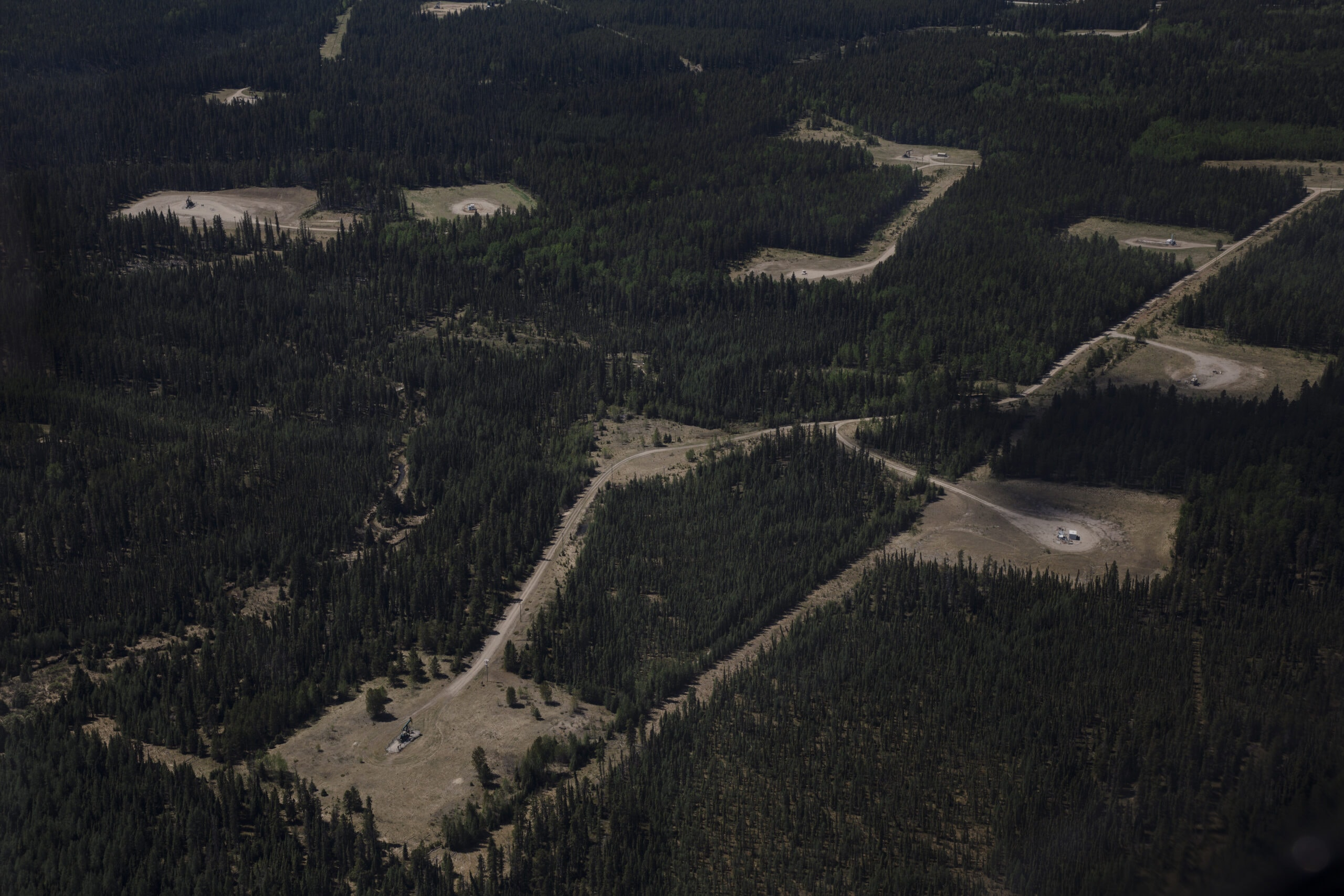 industry oil and gas well pads eastern slopes Rocky Mountains