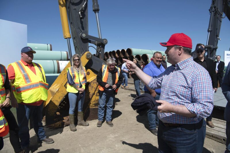 Alberta Premier Jason Kenney greets workers in Oyen, Alta, in July 2020 after announcing the provincial government's financial support of Keystone XL.