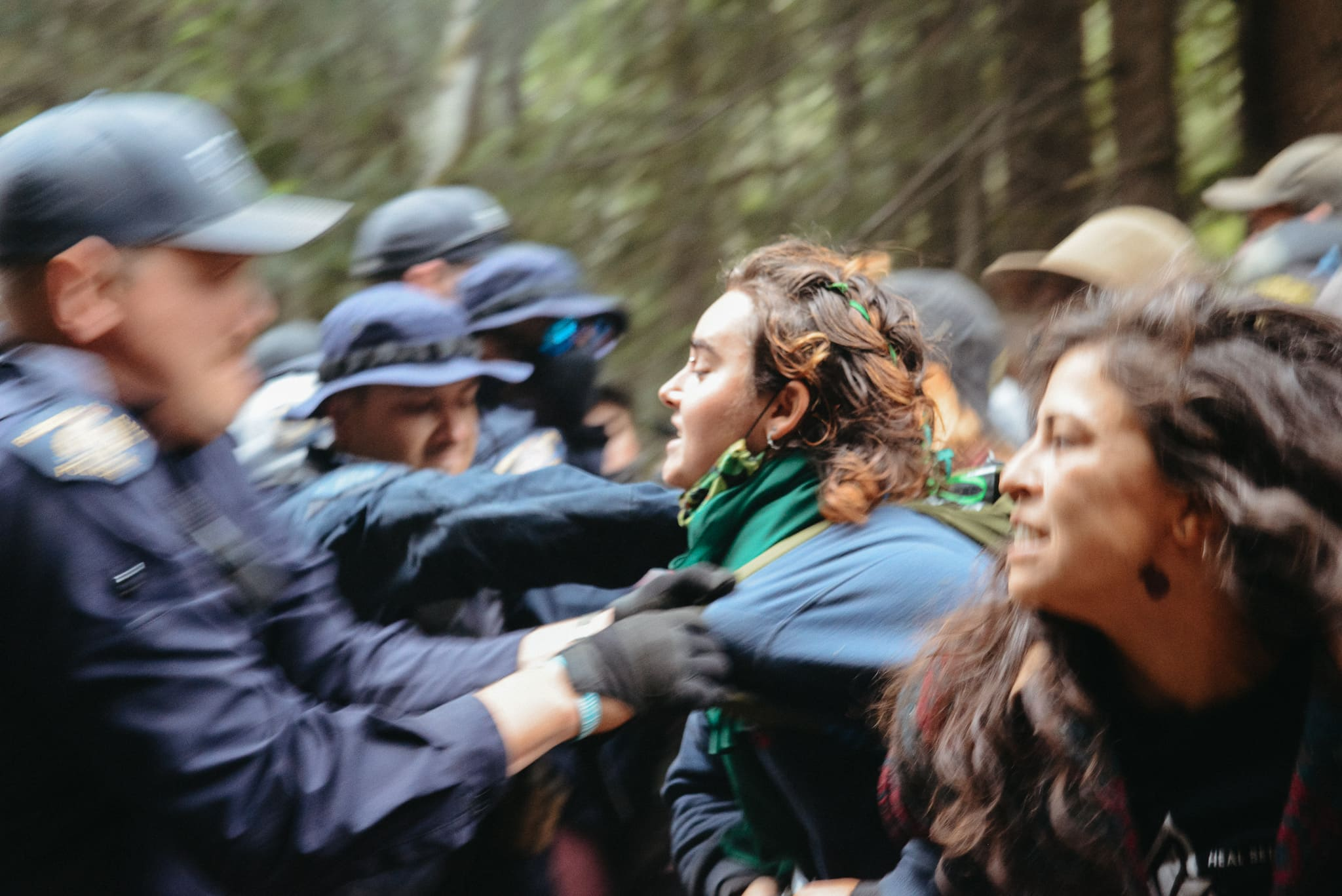 scuffles between RCMP and protestors at the Fairy Creek blockades
