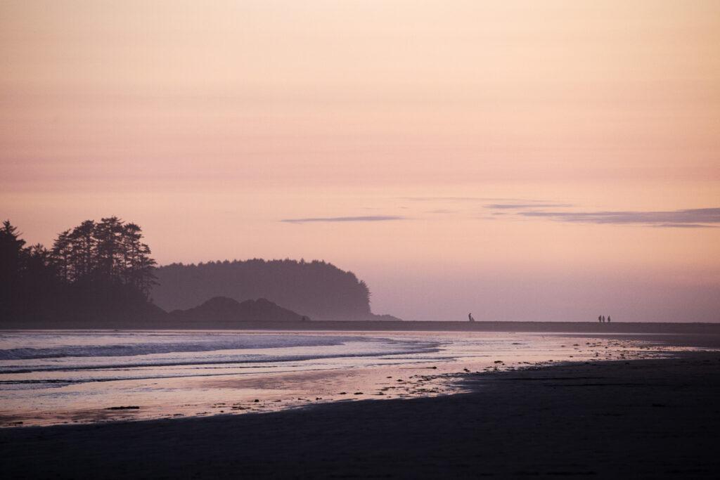 The sun sets on Chesterman Beach
