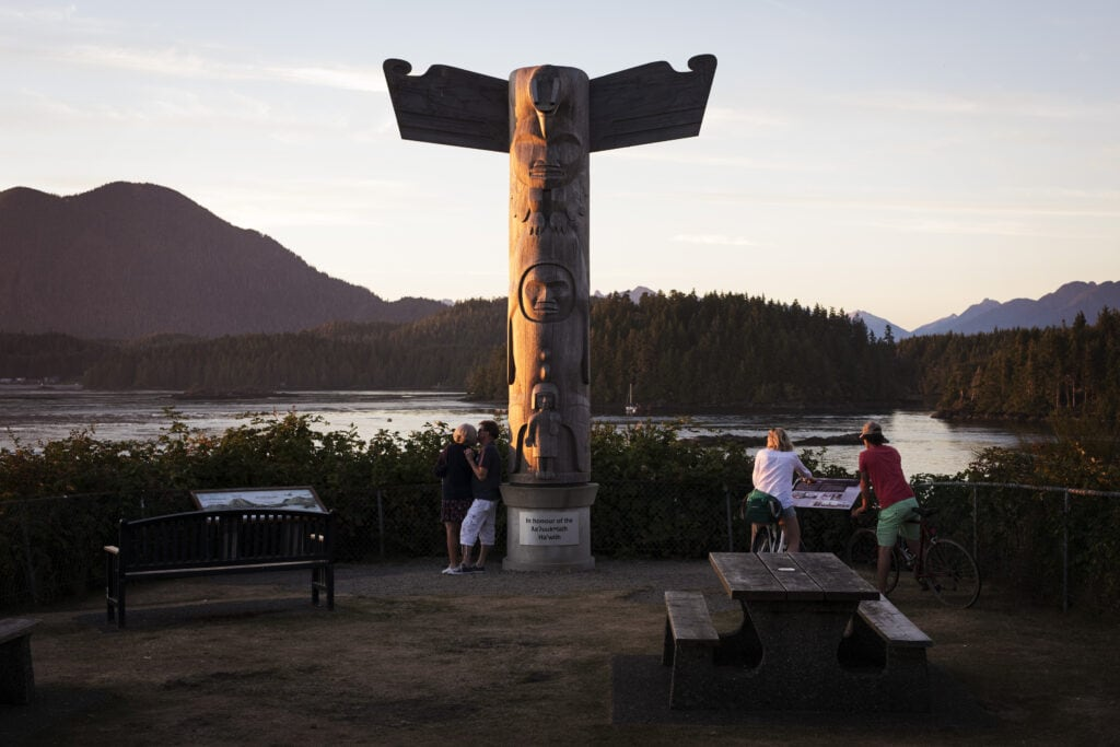 a totem pole on Main Street in Tofino