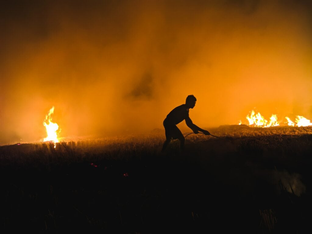 a silhouetted figure stands in a field with flames