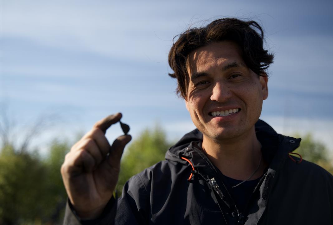 Matt Munson by Mbehcho (Bistcho) Lake in northern Alberta.