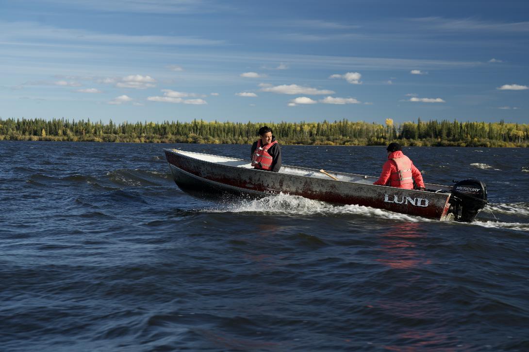 Matt Munson out on Mbehcho (Bistcho) Lake