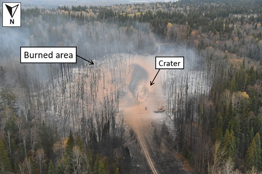 aerial view of crater and burned area caused by Enbridge pipeline explosion