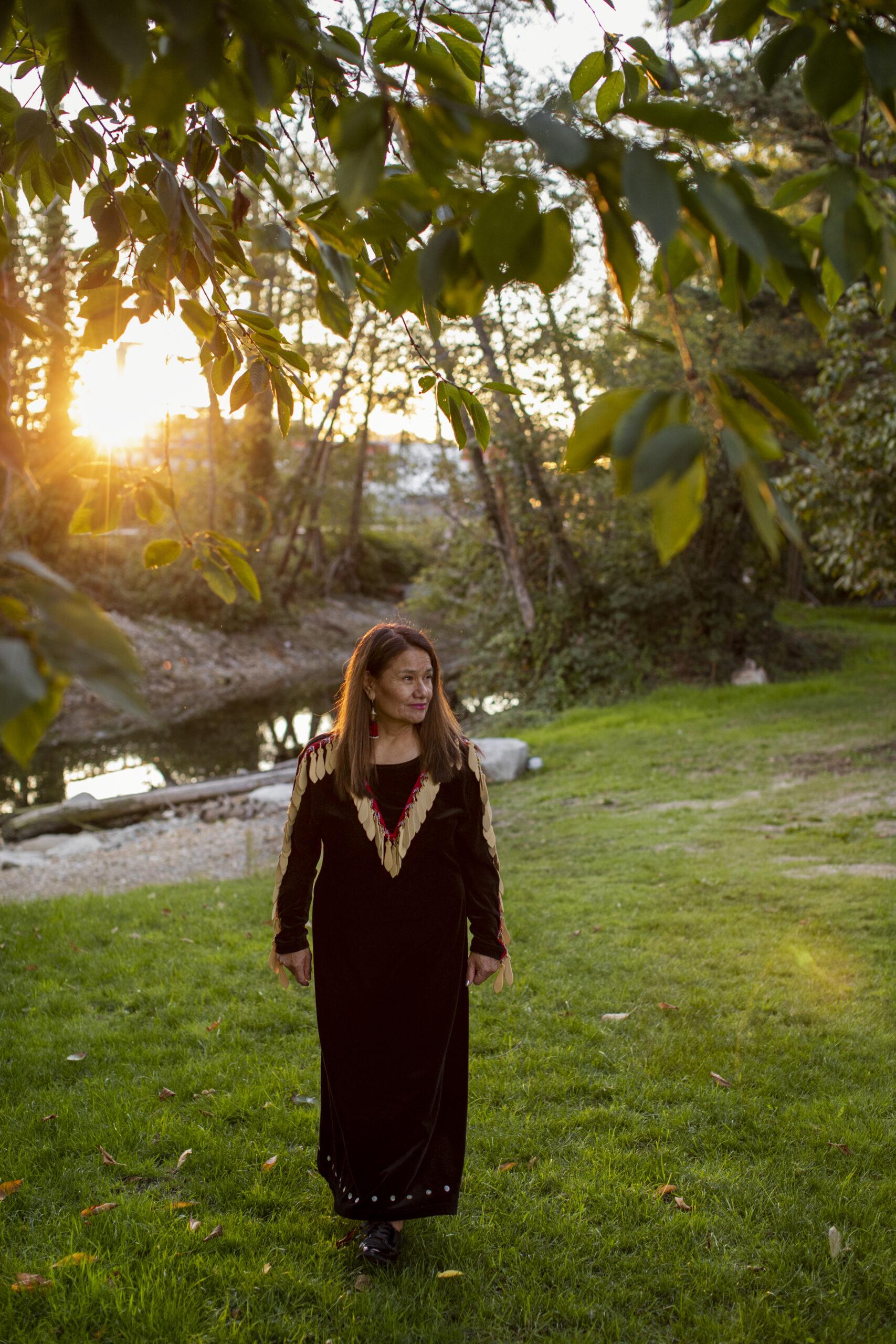 Shellene Paull walks from a creek