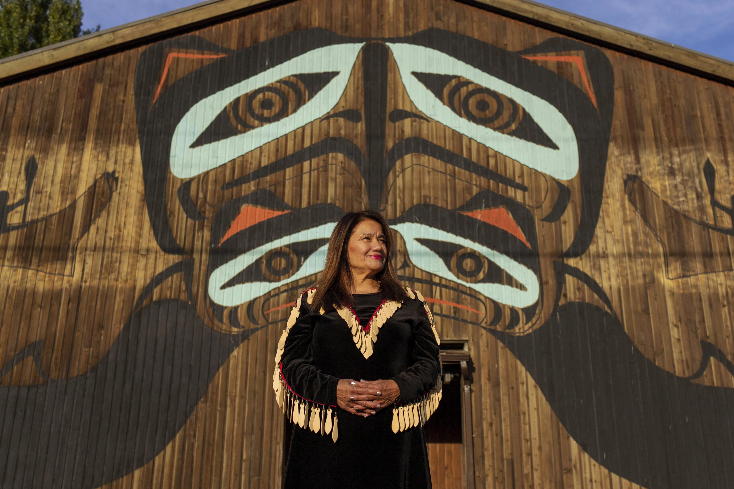 Shellene Paull stands outside a Squamish Nation social programs building