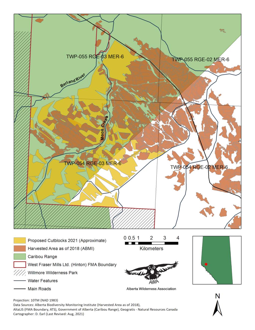 alberta wilderness association map of west fraser mills logging tenure and caribou habitat