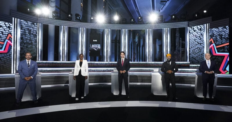 Bloc Quebecois Leader Yves-Francois Blanchet, left to right, Green Party Leader Annamie Paul, Liberal Leader Justin Trudeau, NDP Leader Jagmeet Singh, and Conservative Leader Erin O'Toole pose for an official photo before the federal election English-language Leaders debate