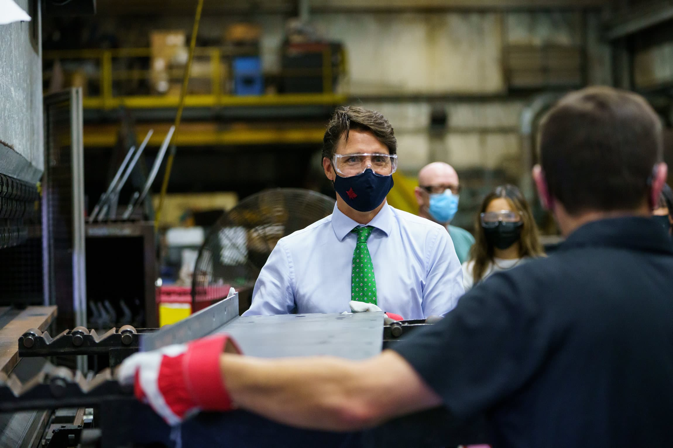 Federal election 2021: Justin Trudeau at a Cambridge sheet-metal business, where he made clean energy announcements