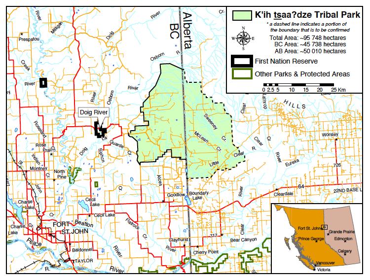 K'ih tsaa?dze Tribal Park map