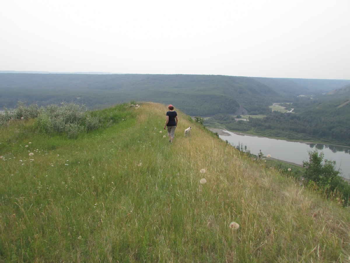 Esther Pedersen walks to a lookout on her land overlooking the potential site of the Site C dam.