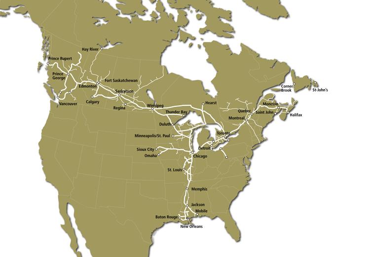 CN Rail route map